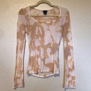 CUSTOM Bleach Tie Dyed Tan and White Shirt